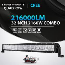 Quad Row 32inch 2160W Curved LED Light Bar Spot Flood Offroad Driving 4WD ATV 42