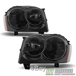 Smoked 2005 2006 2007 Jeep Grand Cherokee Headlights Headlamps Pair Left+Right