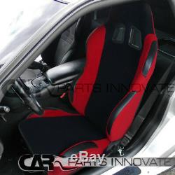 T-R Black Red Cloth PVC Reclinable Racing Bucket Seats Pair withRed Belt Harness