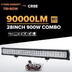 Tri-Row 28Inch 900W Led Work Light Bar Spot Flood Offroad Driving 4WD Truck 30