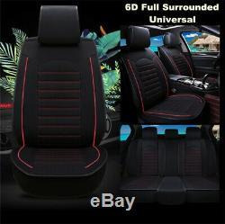 Universal 5-Seats Black Linen Car Seat Cover Cushion Set Front +Rear Accessories