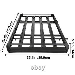 Universal 50 X 38 Black Aluminum Roof Top Rack Basket Luggage Cargo Carrier