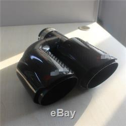 Universal Black Glossy Car SUV Dual Pipe Left Exhaust Pipe Muffler Carbon Fiber
