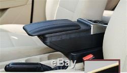 Universal Car Central Container Armrest Box Black PU Leather Center Storage Case