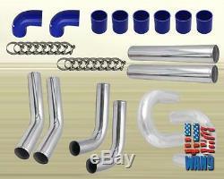 Universal DIY Custom T3/T4 TT Twin Turbo Charger Piping Kit Blue 800Hp V6 V8 V10
