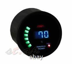 Voltage Oil Pressure Water Temperature Digital Gauge 52mm Meter Smoke Tint JDM